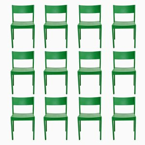 Mid-Century Green Beechwood Dining Chairs, 1950s, Set of 6