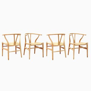 Model CH24 Wishbone Chairs by Hans Wegner for Carl Hansen and Son, 1960s, Set of 4