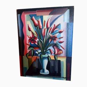 Vintage Blumen in Vase Gemälde von Hubert Agostini