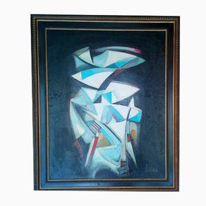 Pintura abstracta vintage de Michel Sanzianu, 1944