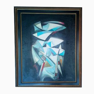 Vintage Abstract Painting by Michel Sanzianu, 1944