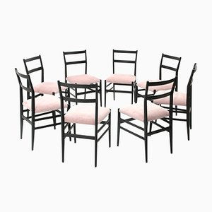 Black & Pink Leggera Chairs by Gio Ponti for Cassina, 1950s, Set of 8