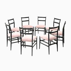 Leggera Stühle in Schwarz & Rosa von Gio Ponti für Cassina, 1950er, 8er Set