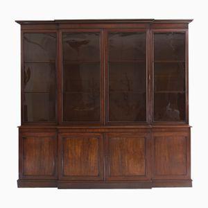 Antique English Mahogany Breakfront Bookcase