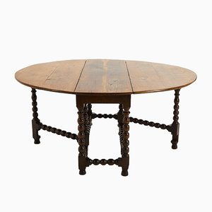 Antique English Charles II Oak Drop Leaf Table, 1680s