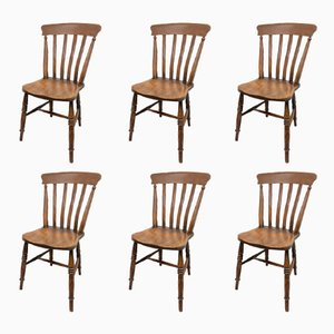 Antique Rustic Kitchen Chairs, Set of 6