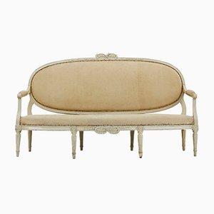 Französisches Sofa mit geschnitztem & lackiertem Holzgestell, 18. Jh.