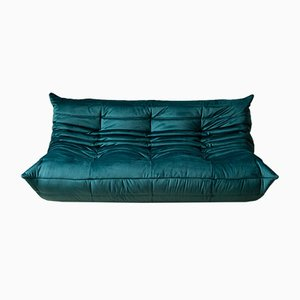 Teal Velvet Togo 3-Seater Sofa by Michel Ducaroy for Ligne Roset, 1970s
