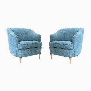 Azurblaue italienische Mid-Century Sessel, 2er Set