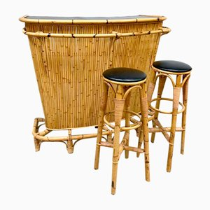 Vintage Set with Rattan Bamboo Tiki Bar & 2 Bar Stools