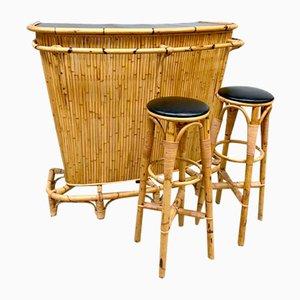Vintage Tiki Bar Set aus Rattan & 2 Barhockern aus Bambus