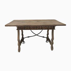 Tavolo antico in legno di quercia sbiancato, Francia