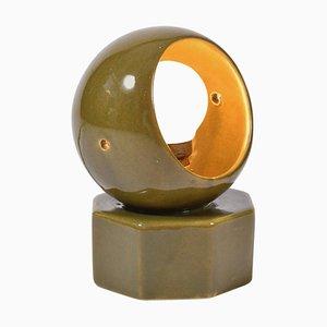 Olivgrüne Keramiklampe, 1950er
