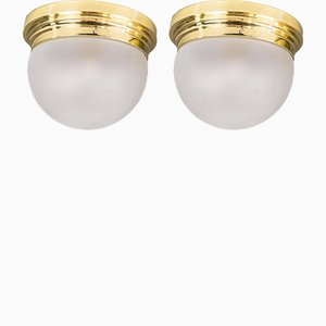 Art Deco Ceiling Lamps, 1920s, Set of 2