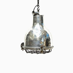 Industrial Cast Aluminum & Caged Glass Ceiling Lamp, 1960s