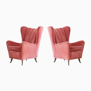 Italian Velvet Lounge Chairs from I.S.A. Bergamo, 1950s, Set of 2