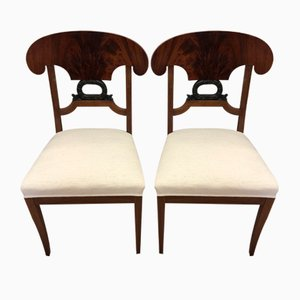 Antique Biedermeier Walnut Chairs, Set of 2
