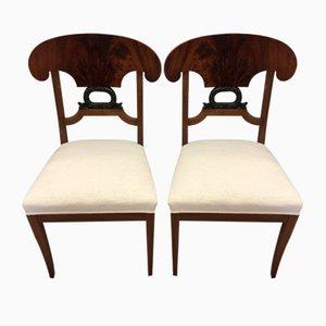 Chaises Biedermeier Antiques en Noyer, Set de 2