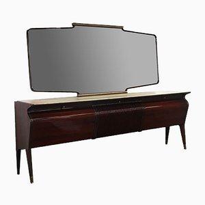 Mid-Century Italian Mahogany, Rosewood & Onyx Sideboard with Mirror by Osvaldo Borsani for Turri