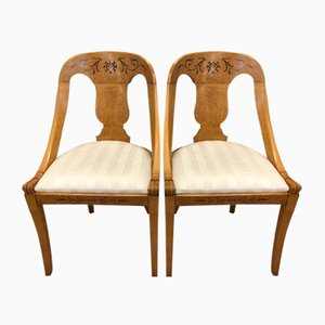 Antique Biedermeier Maple Chairs with Inlays, Set of 2