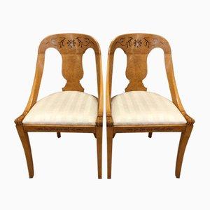 Chaises Biedermeier Antiques en Érable avec Incrustations, Set de 2