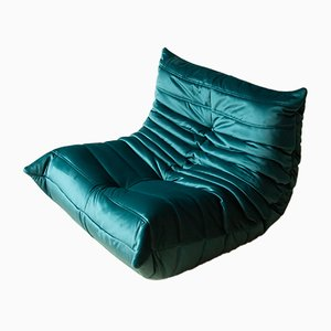 Teal Velvet Togo Lounge Chair by Michel Ducaroy for Ligne Roset, 1970s