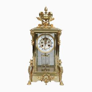 Reloj de chimenea francés de latón y vidrio, década de 1880