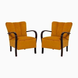 Art Deco Sessel mit gelbem Samtbezug & Gestell aus Bugholz, 1920er, 2er Set