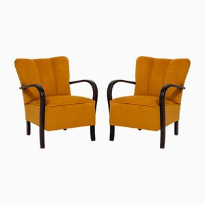 Art Deco Yellow Velvet & Bentwood Armchairs, 1920s, Set of 2