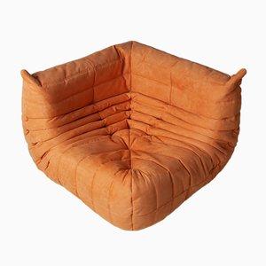 Canapé d'Angle Togo en Microfibre Orange par Michel Ducaroy pour Ligne Roset, 1970s