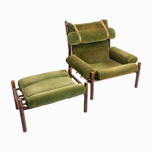 Vintage Inca Armchair & Ottoman Set from Arne Norell