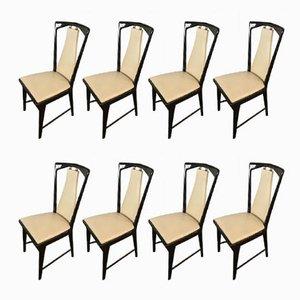 Italienische Mid-Century Esszimmerstühle aus Mahagoni & Kunstleder von Osvaldo Borsani, 8er Set