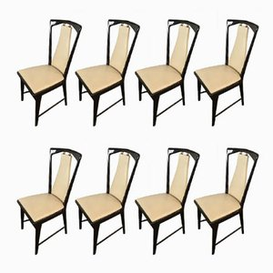 Mid-Century Italian Mahogany & Leatherette Dining Chairs by Osvaldo Borsani, Set of 8