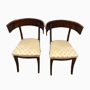Chaises en Acajou avec Assises en Tissu, 1950s, Set de 2