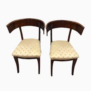 Mahogany Chairs with Fabric Seats, 1950s, Set of 2