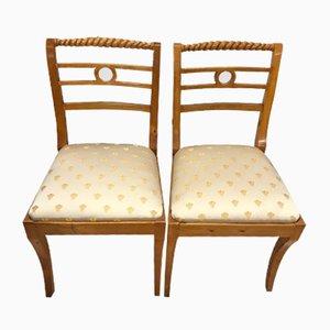 Vintage Stühle aus hellem Holz, 2er Set