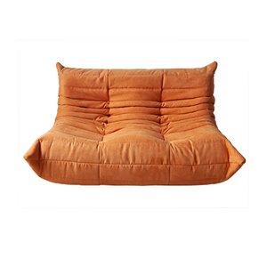 Togo 2-Sitzer Sofa mit orangefarbenem Mikrofaserbezug von Michel Ducaroy für Ligne Roset, 1970er