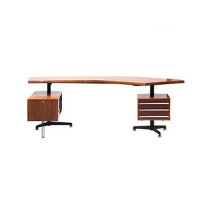 T96 Boomerang Schreibtisch aus Palisander von Osvaldo Borsani für Tecno, 1960er