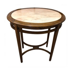 Table Basse Ovale Antique en Chêne et Marbre Rose