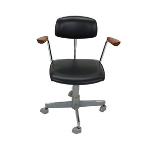 Norwegian Black Faux Leather Office Chair from Hag, 1960s