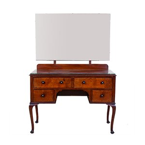 Art Deco Walnut, Bakelite & Mahogany Dressing Table with Kneehole & Mirror, 1930s