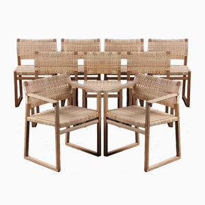 Danish Oak Model BM-62 & BM-61 Dining Chairs by Børge Mogensen, 1957, Set of 9