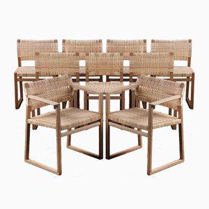 Danish Oak Model BM-62 & BM-61 Dining Chairs by Børge Mogensen, 1957, Set of 9