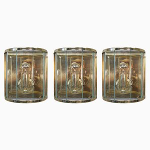 Gilded Brass & Glass Sconces from Holtkötter, 1970s, Set of 3