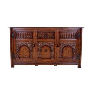 Credenza in stile Arts & Crafts vintage in legno di quercia intagliato