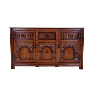 Vintage Arts & Crafts Style Carved Oak Sideboard
