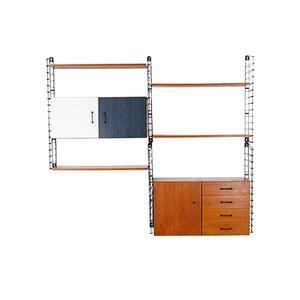 Unidad de pared modular de acero y teca de Musterring, años 60
