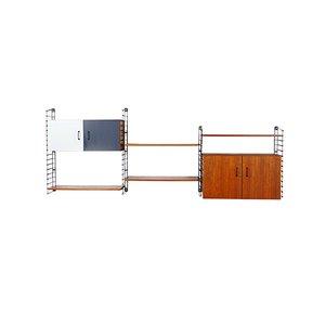 Estantería modular de acero y teca de Musterring, años 60