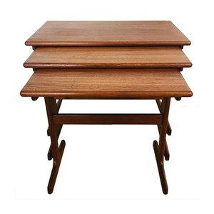 Tavolini ad incastro in teak di Kai Kristiansen per Vildbjerg Møbelfabrik, anni '60