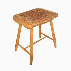Rustic Polish Stool with Seagrass Seat, 1950s